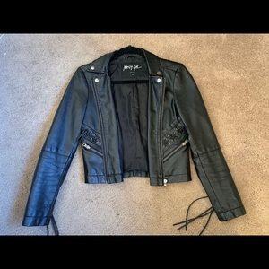 Black Leather Fringe Jacket!